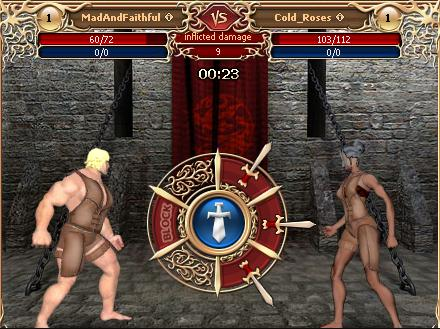 "Fight screen with ""three swords"" combat system"
