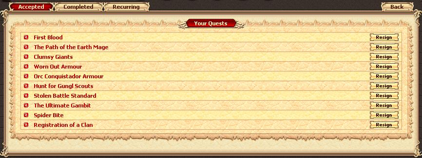 Your quest log